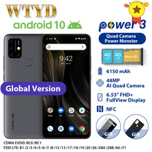 "UMIDIGI puissance 3 Quad caméra Android 10 4G téléphone portable 6.53 ""4GB 64GB 6150mAh Charge rapide visage ID NFCGlobal Version Smartphone"