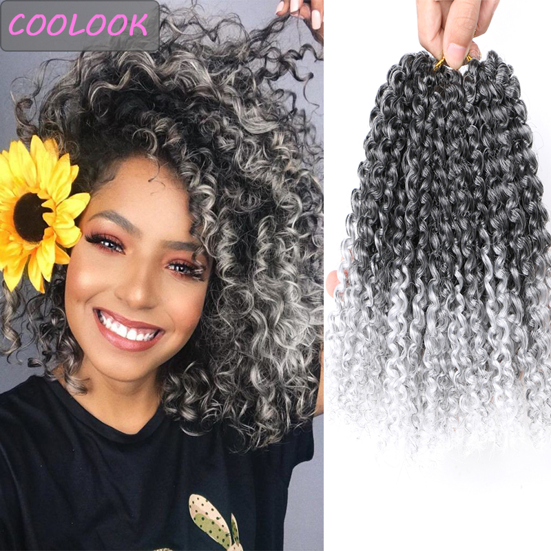 Gray Brown Marlybob Crochet Hair 8 Inches Afro Kinky Curly Hair for Women Synthetic Crochet Braiding Hair Extensions Jerry Curly
