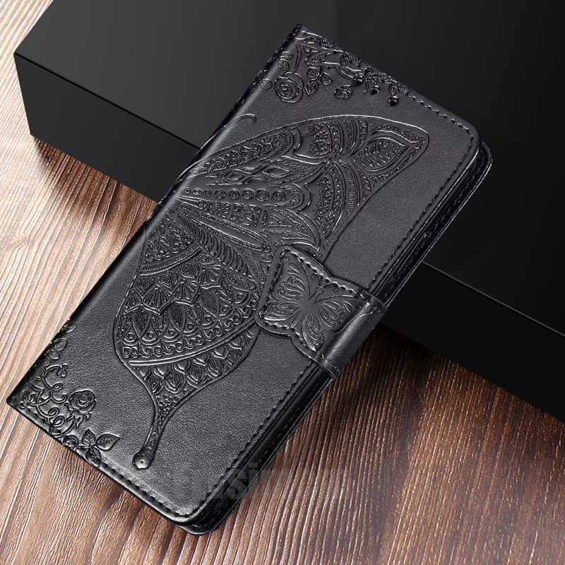 محفظة طي جلدية حقيبة لهاتف سامسونج غالاكسي A2 النواة A10 A20 A30 A40 A50 A70 A10S A20E A20S A51 A71 A81 A91 3D فراشة غطاء