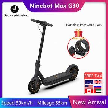 Original Ninebot Max G30 KickScooter plegable inteligente Scooter Eléctrico Scooter aerotabla 350W de potencia de 30 Km/h, 10 pulgadas de la rueda