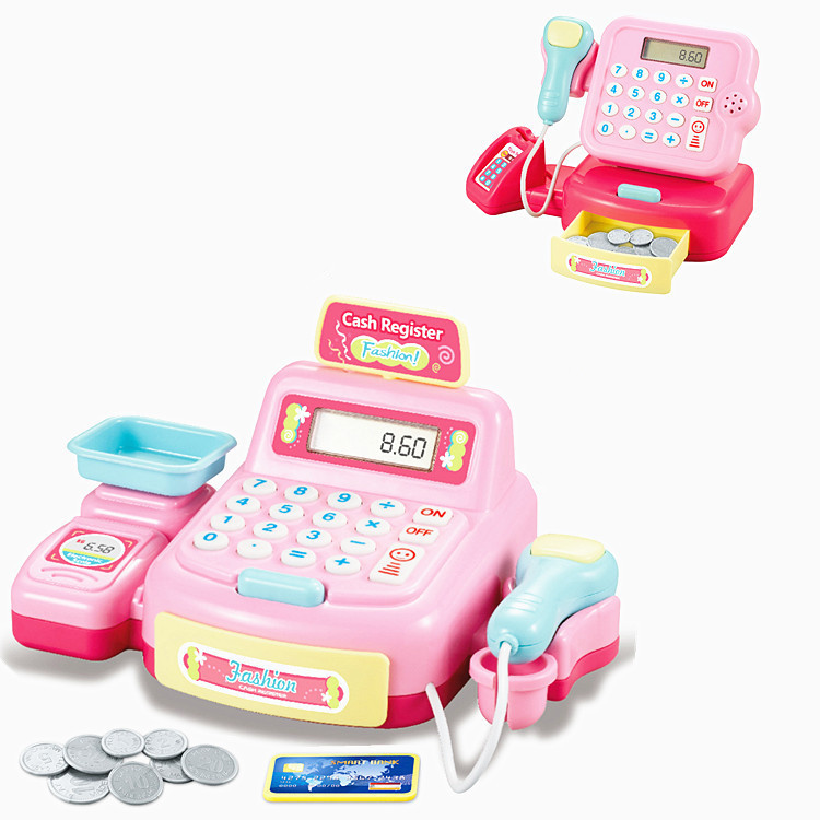 Role Play Cashier Cash Register Set Mini Simulated Supermarket Checkout Counter Kids Girl Pretend Play Early Educational Toys