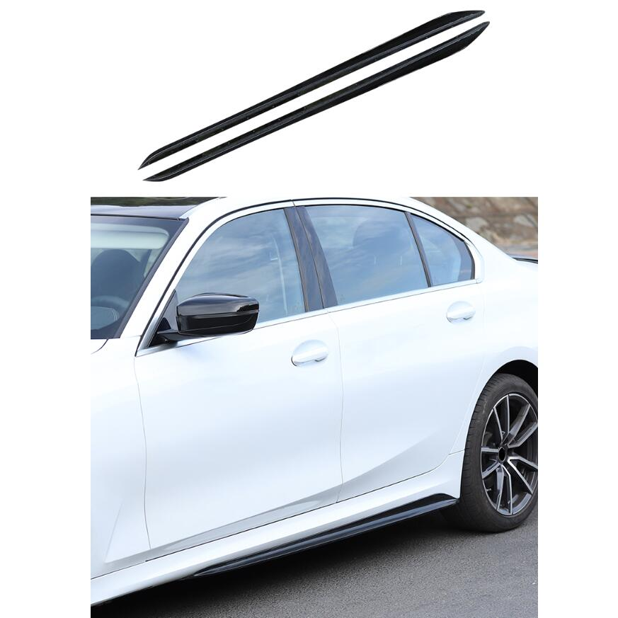 For BMW <font><b>3</b></font> Series G20 G28 2019 2020 2021 2022 High Quality PP Bright Black Side Skirt Lip Spoiler Auto Modification image