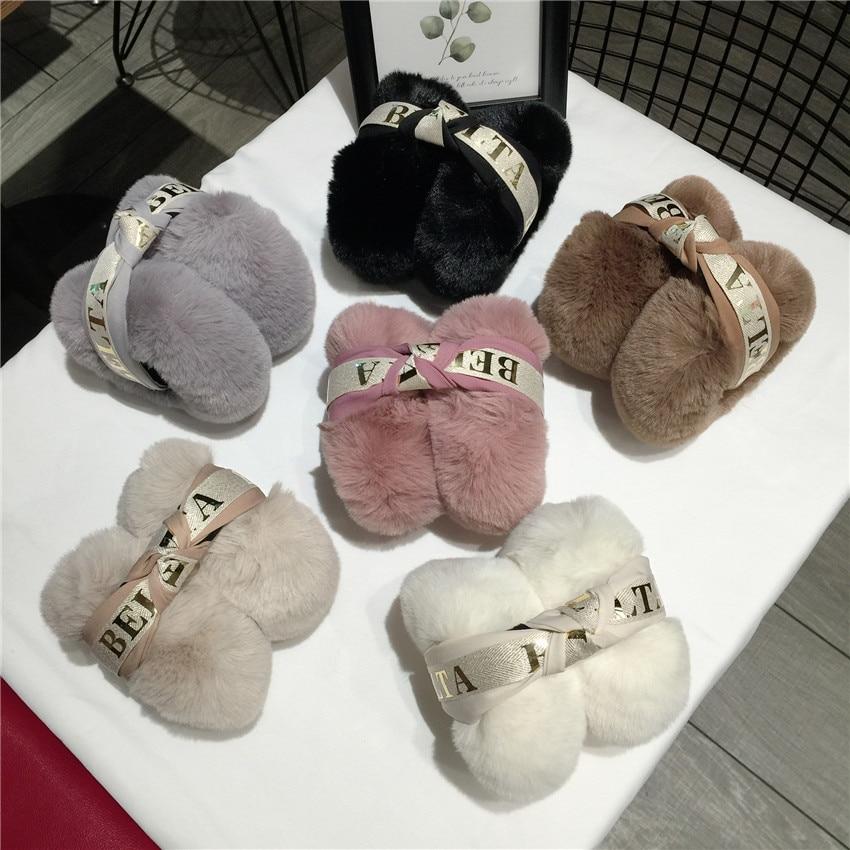 New Arrival Ladies Girls Hair Letter Band Earmuffs Cute Bowknot Furry Ear Muffs Comfy Soft Outdoor Winter Earmuffs