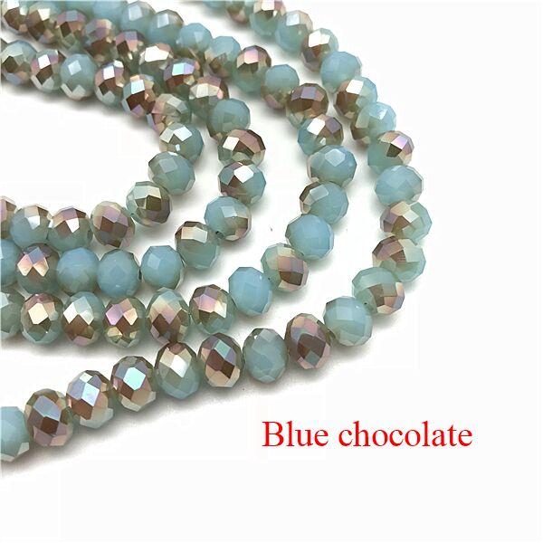 2X3/3X4/4X6/6X8 мм хрустальные бусины AB разноцветные стеклянные бусины Sapcer для ювелирных изделий ручное кольцо Ожерелье Изготовление DIY - Цвет: Blue chocolate