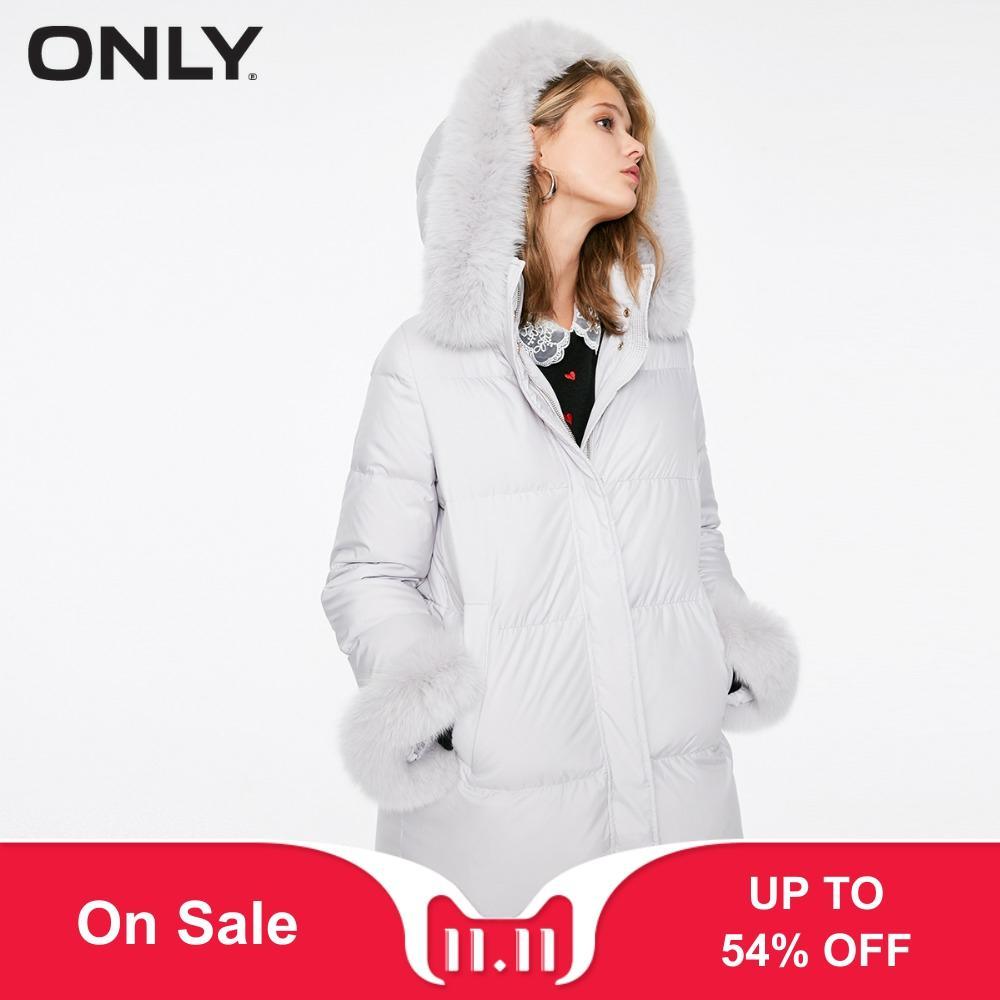 ONLY  Womens' Winter New Fox Fur Collar Long Down Jacket Detachable Loop Hem Bundling Design|118312508