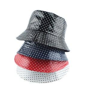2020 Leather Dot Print Two side Reversible Bucket Hat Waterproof Fisherman Hat Sun Cap Fishing Hats For Women Men