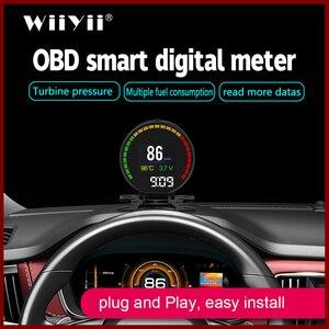 Image 1 - GEYIREN P15 head up display hud obd2 temperatur auto KM/h MPH Turbo Boost Druck geschwindigkeit projektor auf die windschutzscheibe für auto HUD