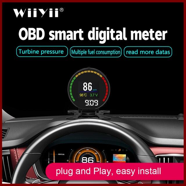 """GEYIREN P15 ראש למעלה להציג hud obd2 טמפרטורת רכב KM/h קמ""""ש טורבו Boost לחץ מהירות מקרן על שמשה קדמית לרכב HUD"""