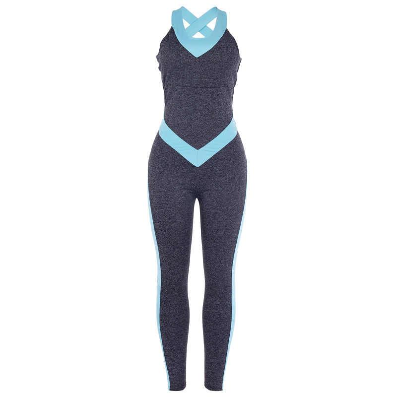Fitness odzież kobiety jednoczęściowy zestaw strojów sportowych 2019 trening siłownia Fitness kombinezon spodnie Sexy joga zestaw bandaż body gimnastyczne