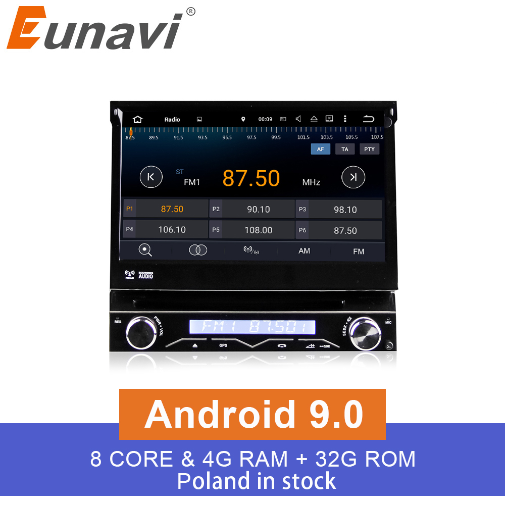 Eunavi 4G RAM 1 Din Android 9.0 Octa 8 Core Car DVD Player For Universal GPS Navigation Stereo Radio WIFI MP3 Audio USB SWC image