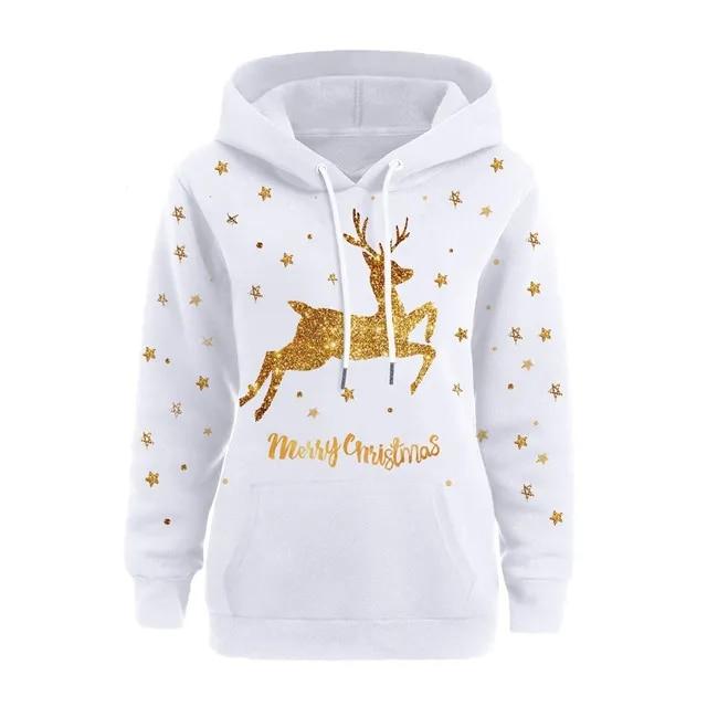 White Hot Stamping Elk Hoodie Sweatshirt Women Christmas Pullovers Sweatshirt Long Sleeve Hooded Tops Blouse Campus Tracksuit