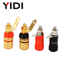 Red Black 4mm Banana Connector Gold Copper Nickel Plate Plugs Power Socket Binding Post for Audio Speaker Cables