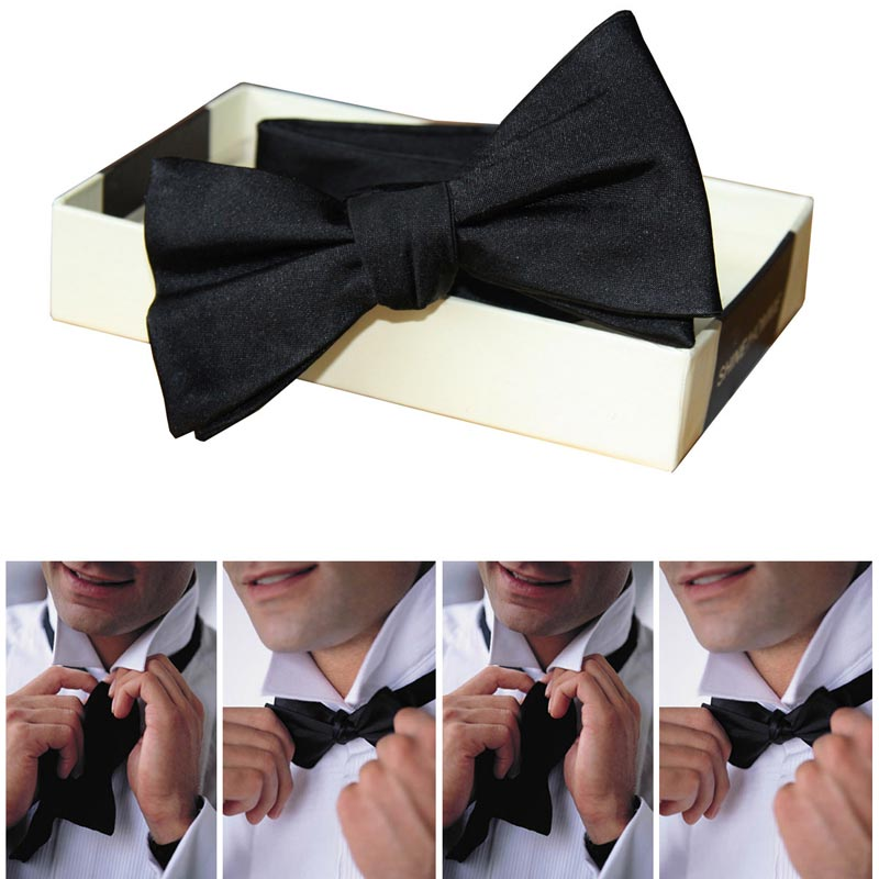 High Quality Bowties Black Red Solid Self Tied Bow Tie Luxury Men's Silk Jacquard Woven Butterfly For Classic Wedding Party Gift