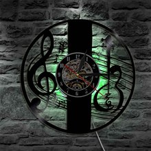 цена на Treble Clef Music Note Wall Art Wall Clock Musical Instrument Violin Key Vinyl Record Wall Clock Classical Music Home Decor Gift