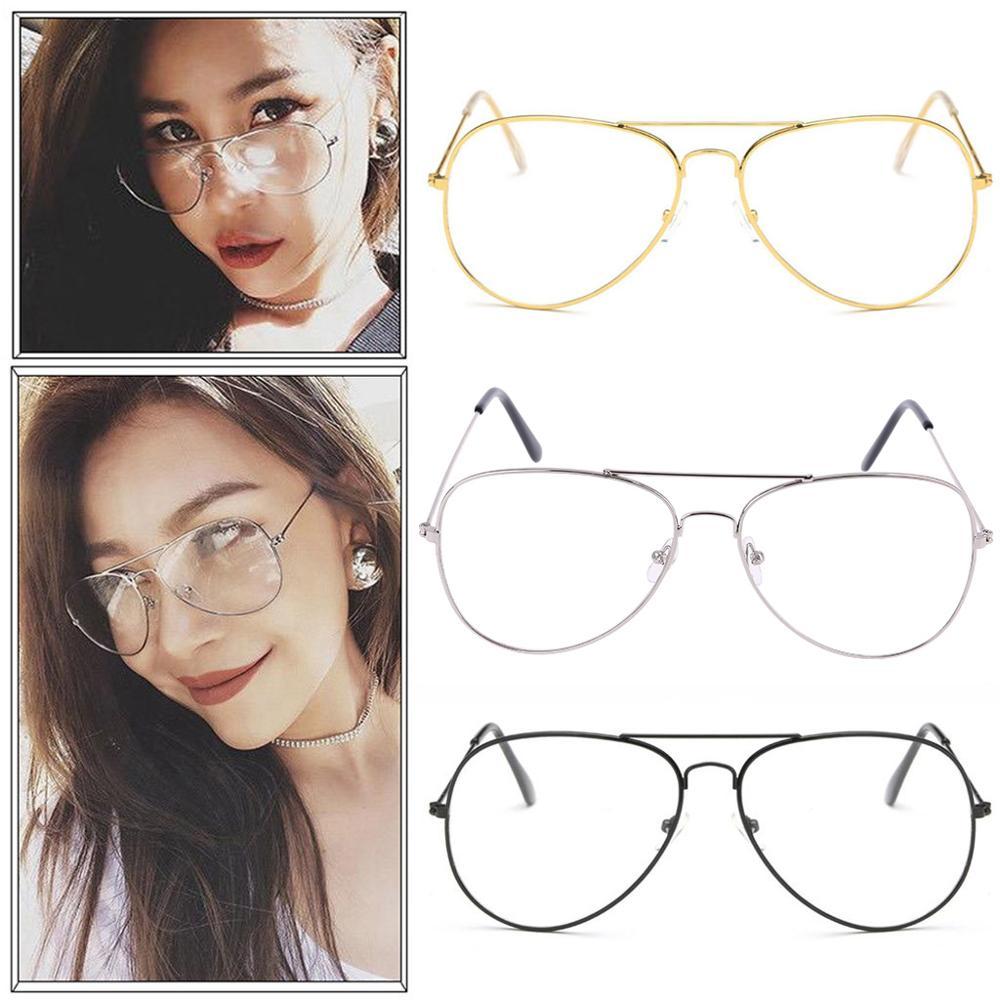 Gold Geek Nerd Clear Lens Pilot Glasses Fashion Teardrop Metal Frame Men Ladies