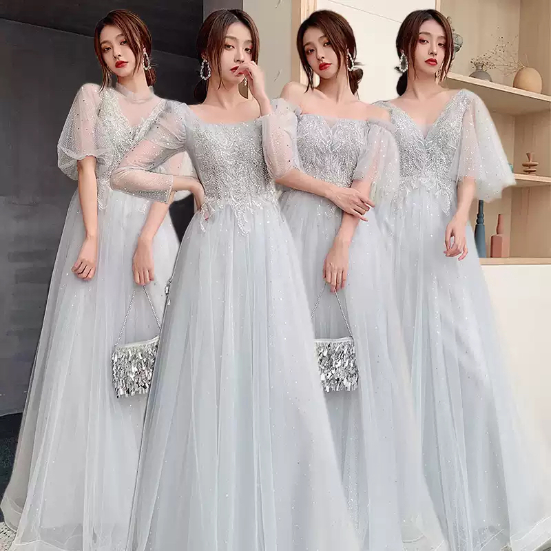 Bridesmaids Dress Illusion Short Strapless Off The Shoulder Embroidery Sequined Lace Tulle Vintage Women Wedding Party Gown E596