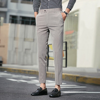 Plain Streetwear Dress Pants Men Slim Fit Ankle Length Spring Summer Autumn Mens Trousers Formal Light Weight Office Pants Men