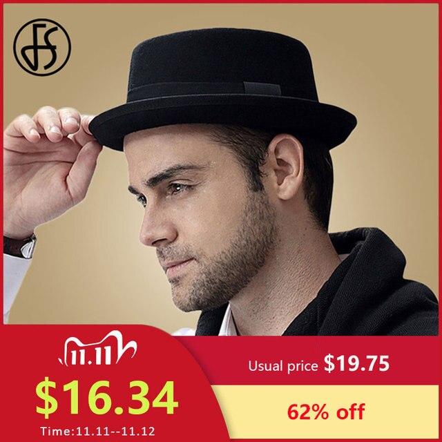 FS Vintage porc tarte chapeau hommes à large bord laine feutre Fedora noir chapeau Mans église Jazz ruban Trilby Panama Gangsters casquettes