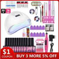 COSCELIA 80W Lamp With 10PC Gel Nail Polish Set Tools For Manicure Base Top Coat Nail Kits Electric Manicure All For Manicure