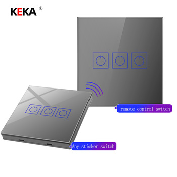 KEKA Smart Wireless Remote Control Switch Light Receiver home Wall Touch Switch Silver Tempered Glass 1/2/3Gang 1Way Switch