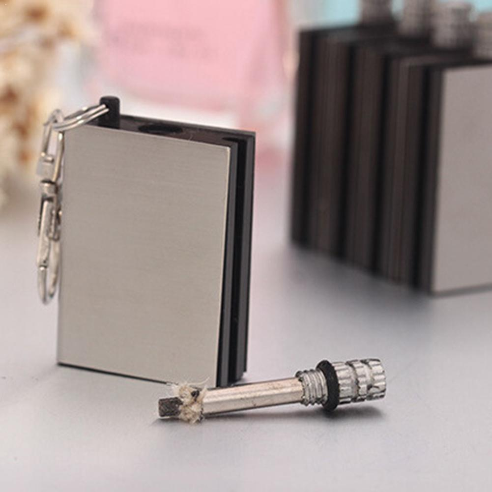 Stainless Steel Match Fire Starter Tool Flint Stone Lighter Outdoor Travel Camping Lighter Keychain