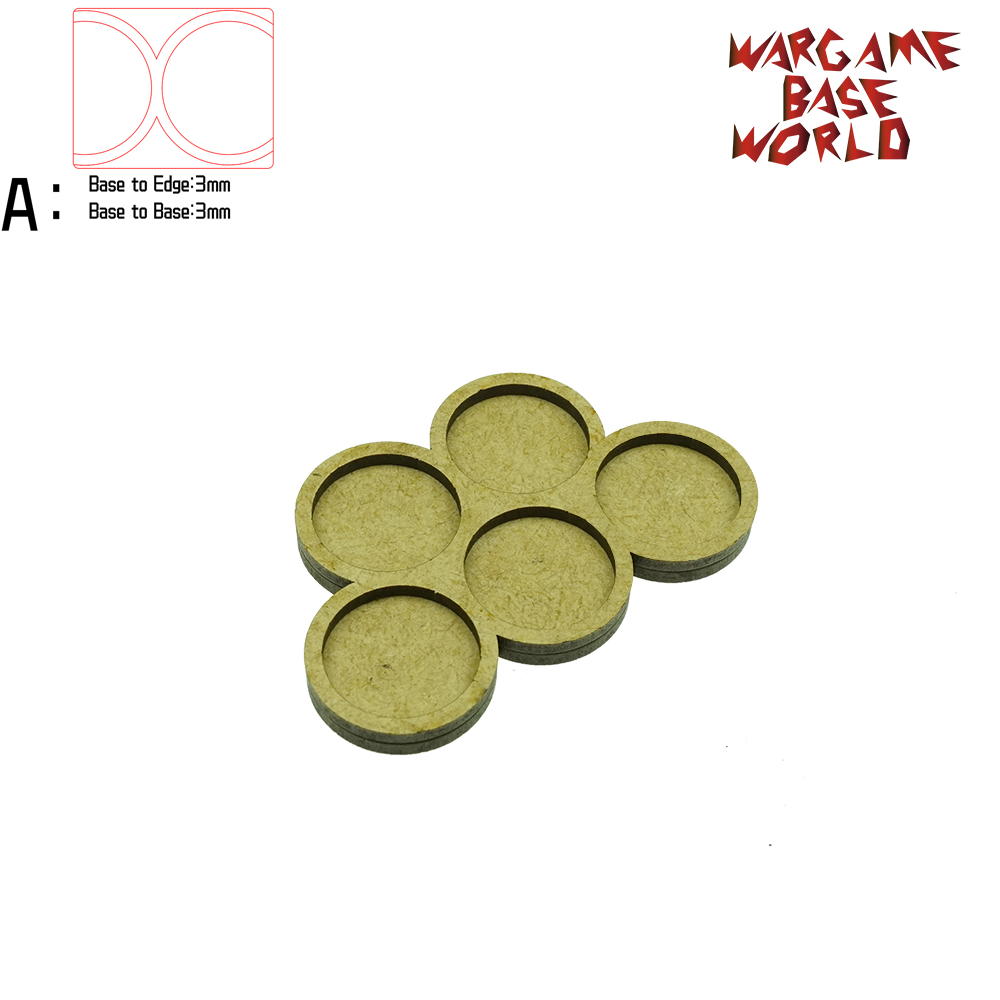 Wargame Base World - Movement Tray - 5 Round 25mm - Derangements Shape MDF