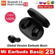 Original xiaomi redmi airdots 2s mi verdadeiro fones de ouvido sem fio básico 2s bluetooth 5.0 air2se tws microfone jogos