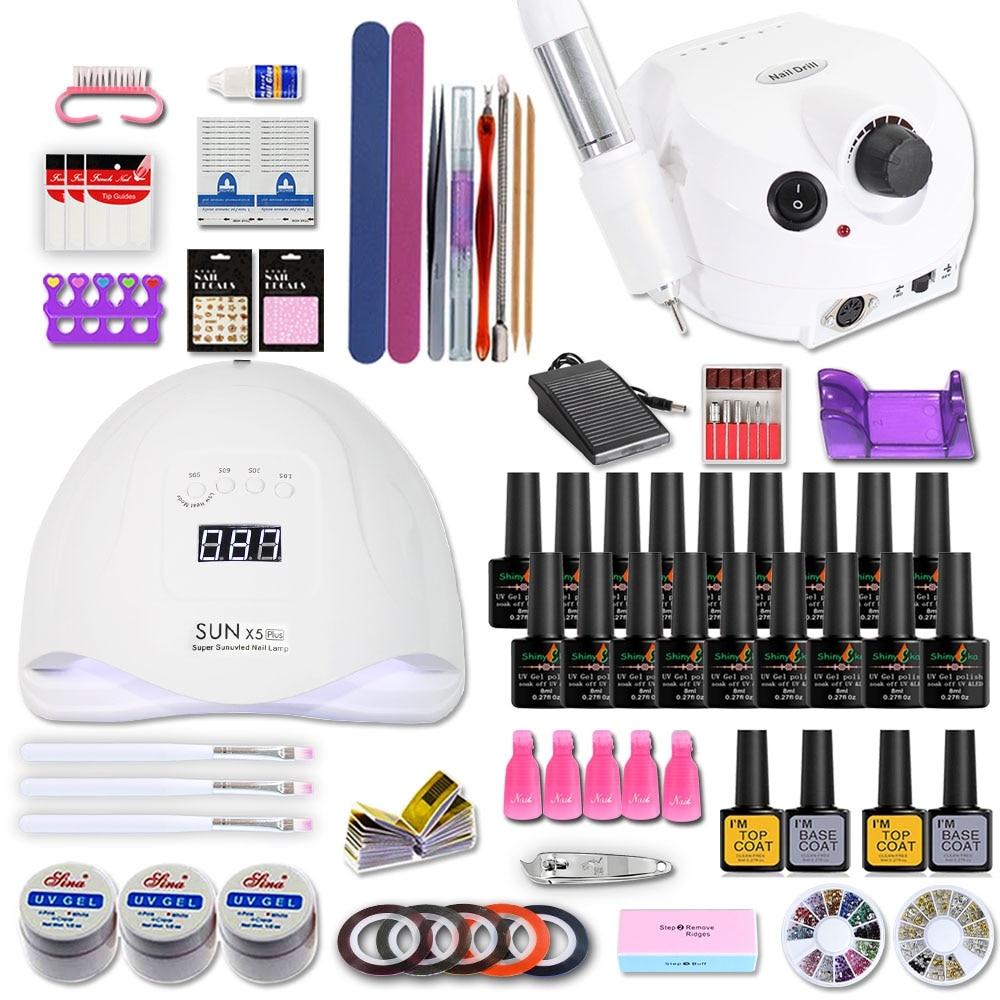 Nail Set with Nail Lamp Nails Art Decorations Optional 18/10 pcs Gel Base Top Coat Extension Gel Electric Nail drill nail kit