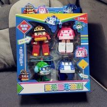 4 шт./лот, Детские корейские игрушки Robocar Poli, трансформация Poli, янтарный Рой, игрушки, фигурка, игрушки для детей, подарки с коробкой