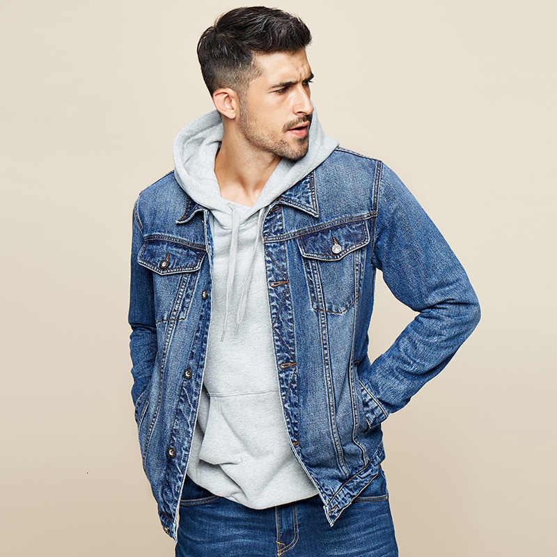 Kuegou 2019 Herfst 100% Katoen Blauw Denim Jasje Mannen En Jas Voor Mannelijke Hip Hop Japanse Streetwear Vintage Koreaanse Kleding 2995