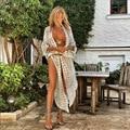 2021 Boho Sexy Gestreiften Chiffon Badeanzug Abdeckung-ups Plus Größe Strand Tragen Kimono Kleid Für Frauen Sommer Badeanzug abdeckung Up A790