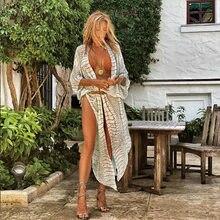 2021 Boho Sexy rayé en mousseline de soie maillot de bain couvre-ups grande taille vêtements de plage Kimono robe pour les femmes d'été maillot de bain couvrir A790