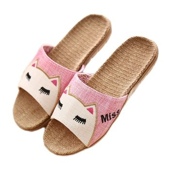 Womens Breathable Flax Slippers