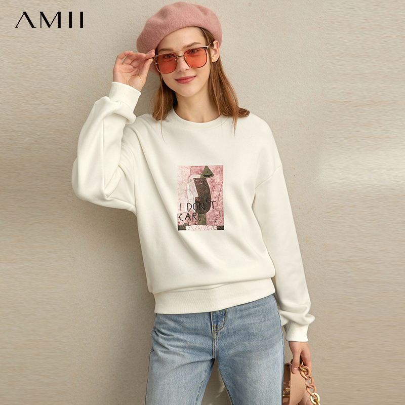 Amii Winter Women Korean Printed Sweater Casual Female Round Neck Loose Pullover Tops 11920673