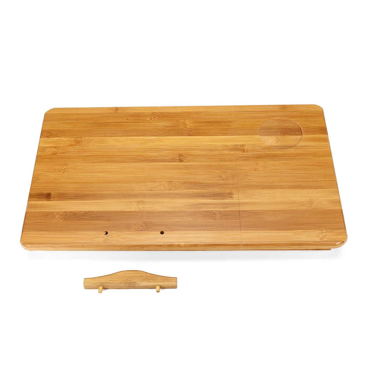 Verstelbare Bamboe Computer Stand Laptop Bureau Notebook Bureau Laptop Tafel Voor Bed Slaapbank Lade Picknicktafel Studeren Tafel