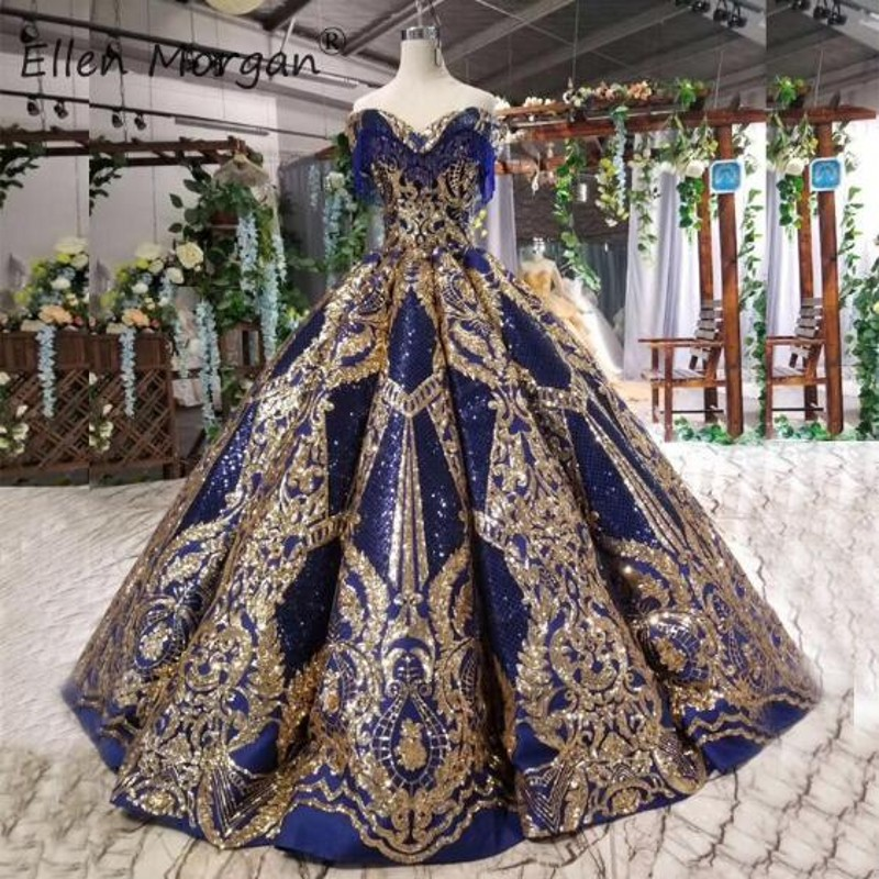 Royal Blue Glitter Ball Gowns   Prom     Dresses   2019 Off Shoulder Gold Lace Floor Length Girls Princess Quinceanera Pageant   Dresses