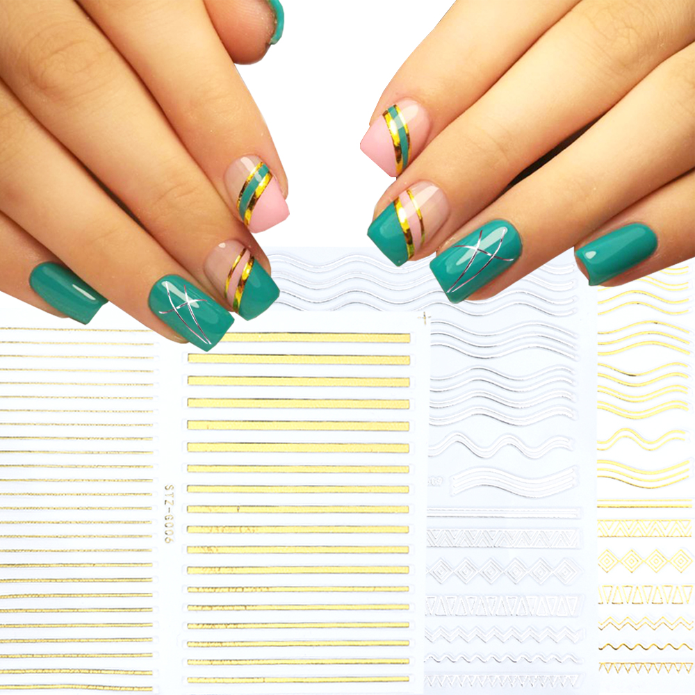 1 Pcs Gold Silver Nail Sticker Curve Stripe Lines Design Adhesive Sliders 3D Nail Foil Nail Art Decals Manicure LASTZG01-13-1