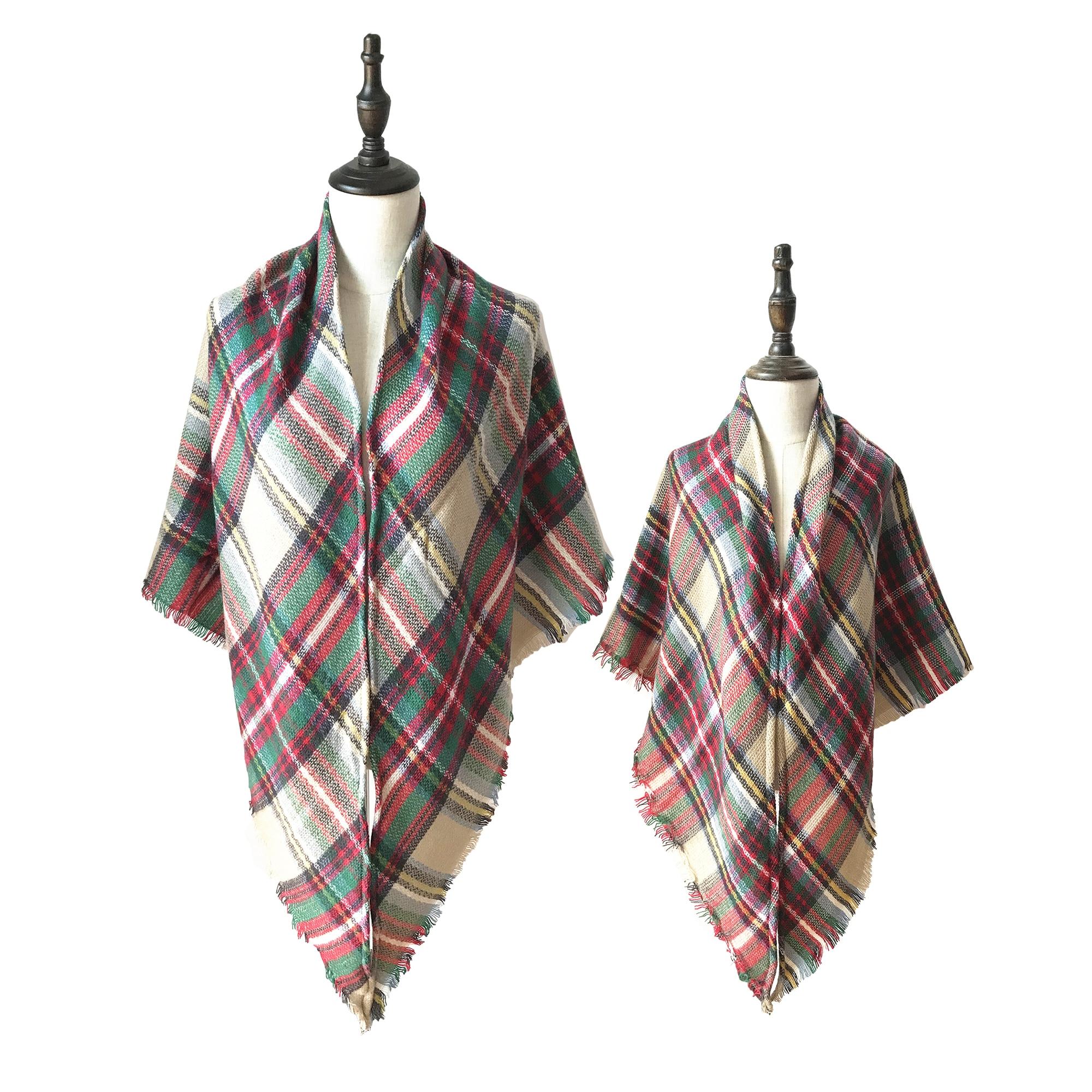 Mommy And Me Plaid Scarf Set  Blanket Fringe Oversize Plaid Shawl Scarf