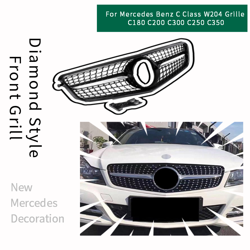 ABS Diamond Style Car Front Grille for Mercedes <font><b>Benz</b></font> <font><b>W204</b></font> <font><b>Grill</b></font> Accessories C Class C180 C200 C300 C250 C350 Decoration 2007-14 image