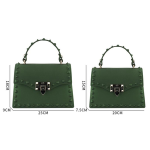 Image 4 - Rivets Women Handbags Candy Color Jelly Women Messenger Bags Luxury Designer PVC Womens Shoulder Bags Females Handbag 2020 New