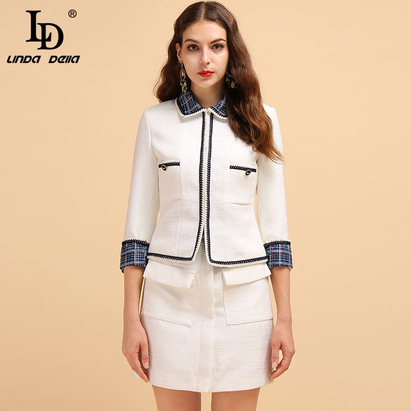 LD LINDA DELLA Fashion Runway Autumn Winter Sets Women's 3/4 Sleeve White Tops And Casual Mini Skirt Office Lady Two Pieces Set