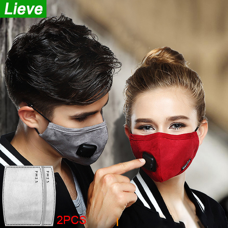 Lieve Fashion Anti-Virus Mouth Mask Cotton Breath Valve PM2.5 Filter Paper Dust Pollution Mask Cloth Activated Carbon Respirator