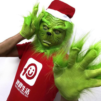 Santa Grinch Cosplay Mask How the Stole Christmas Latex Masks Gloves Prop