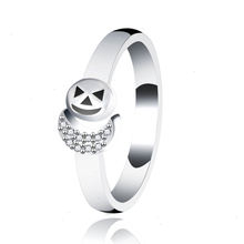StrollGirl 100% 925 sterling silver fashion skull ring, transparent CZ Halloween party ladies fashion jewelry Valentine Day gift