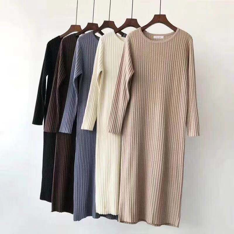 Bonjean женская обувь на каждый день в горошек длинные вечерние зимние платья сексуальное платье с длинным рукавом с круглым вырезом свитер вя...
