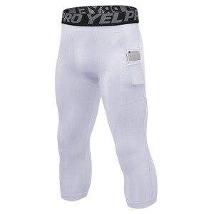 Мужские быстросохнущие компрессионные колготки, облегающие спортивные Леггинсы для фитнеса, тренировок, нижнее белье, укороченные штаны, 3/...