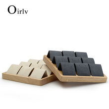 Oirlv Solid wood Beige&Dark Gray 9 Seats Earrings Display Stand with Microfiber for Jewelry Expositor  Ear stud Display Holder