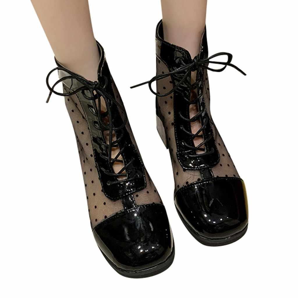 SAGACE bayan botları ayak bileği burnu açık yuvarlak örgü dantel çizmeler çocuk ön fermuar kare kısa çizmeler yeni liste 2020