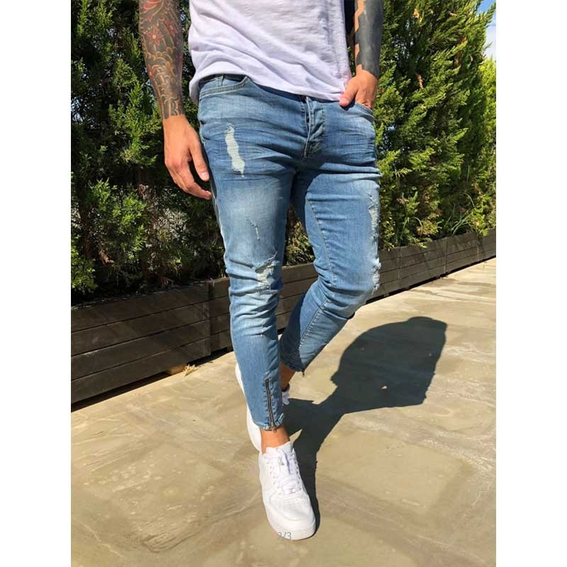 Mens Ripped Jeans For Men Casual Black Blue Skinny Slim Fit Denim Pants Biker Hip Hop Jeans Zipper Designer Denim Pants