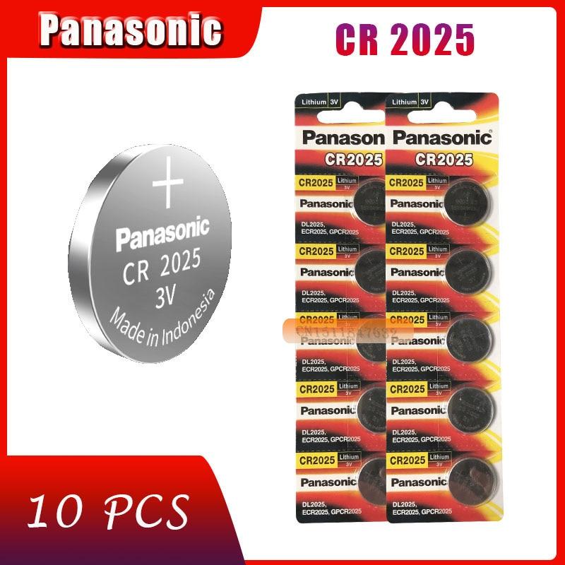 10 pçs original marca nova bateria para panasonic cr2025 3v botão pilha baterias de moeda para relógio computador cr 2025|Bateria de célula de botão|   -